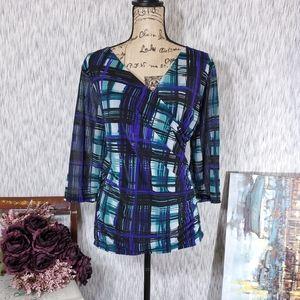 Dana Buchman Faux Wrap Blouse, Size 2x,EUC